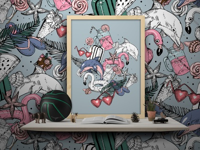 Summer seamless pattern wallpaper liner icecream juice dolphin seamless pattern vector illustration summer