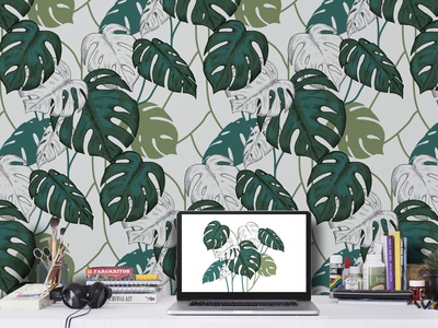 Seamless pattern with tropical leaves. summer color illustration vector tropical green leaves liner wallpaper pattern seamless monstera
