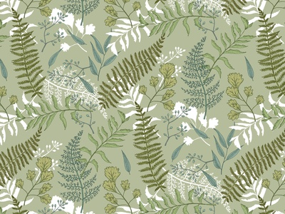 Seamless pattern with ferns. design wallpaper green forest ferns color liner summer seamless pattern vector illustration