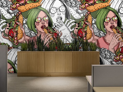 Girl with green hair eats a hot dog wallpapper green design wallpaper color liner seamless pattern vector illustration