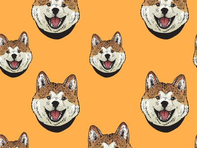 Pattern with dogs akita inu dogs orange design wallpaper liner color seamless pattern vector illustration