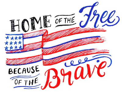 Memorial Day america patriotic illustration calligraphy typography handlettering