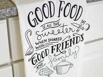 Holiday Tea Towel screenprinting tea towel kitchen illustration hand lettering collaboration