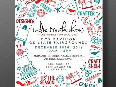 Indie Trunk Show poster holidays shop local christmas lettering hand lettering illustration craft show oklahoma poster design