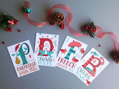 12 Days of Christmas Postcards calligraphy lettering dropcap carols christmas postcards illustration hand lettering