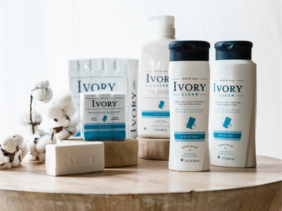 Ivory Packaging Suite logo branding simple typography icon white blue clean package soap packaging