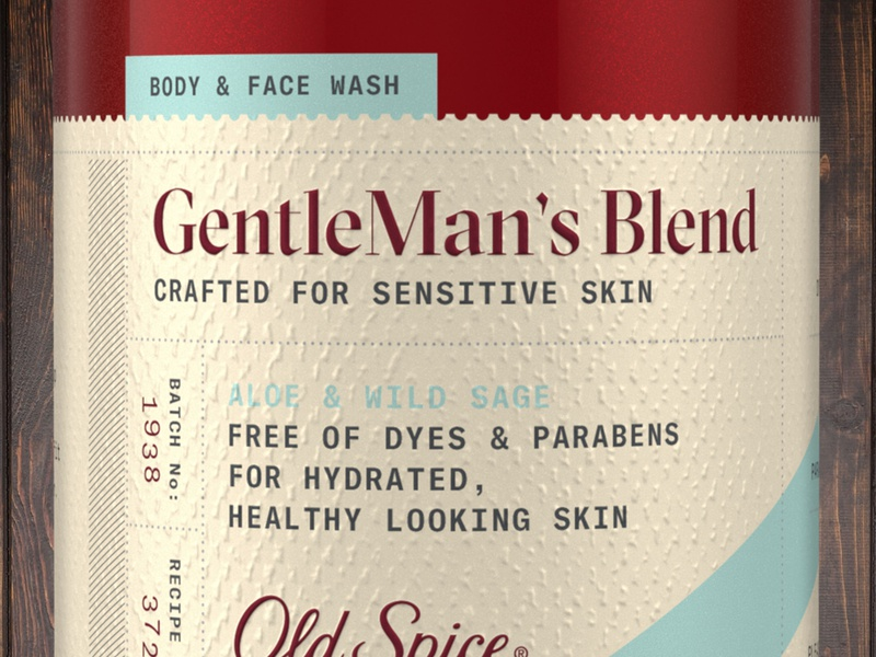 Old Spice Gentleman's Blend body wash soap label packaging branding typography