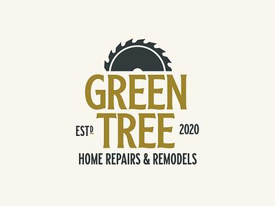 Green Tree badge vector design typography logo branding general contractor woodworking