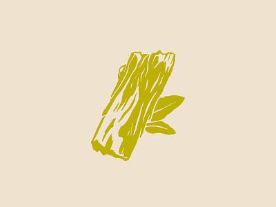 Woodsy Icon vector green wood block cream simple wacom illustration icon leaf bark wood