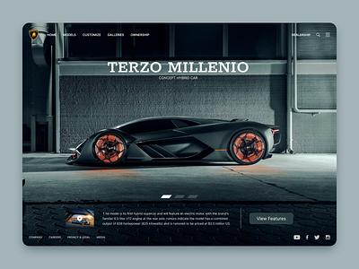 Terzo Millenio sleek modern sexy fast supercar minimalistic lamborghini batmobile car typography vector branding logo dashboard ux ui illustration design app