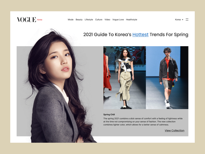 Vogue fashion page redesign asian korea asia style vogue model fashion typography vector branding logo ux ui illustration design app