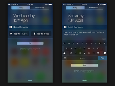 Quick Compose tweet facebook twitter social keyboard ios apple notification center widgets ios 8 ios 6