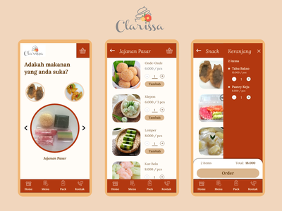 Clarissa Cake mobile app bakery indonesian food