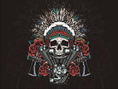American Indian Skull Design