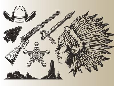 Wild West vector illustrations