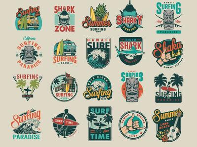 Surfing vector logo