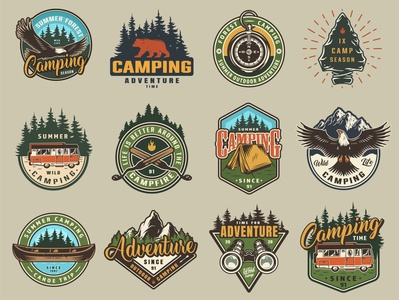 Camping designs: 48 outdoor badges