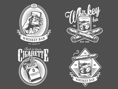 Gentlemen Club Emblems cigarette alcohol adobe illustrator cigar old school vintage animated gif black and white emblem logo emblem vector monochrome gentlemen logodesign logo hookah whiskey men
