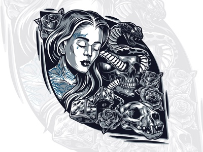 Chicana with skulls and a snake graphic monochrome illustration girl character t-shirt design apparel design snake skull art skull vector illustration adobe illustrator vector vintage tattoo chicano chicana