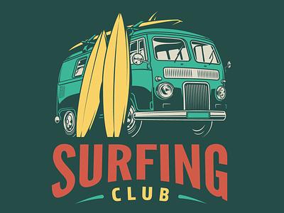 Vintage summer surfing designs illustration emblem apparel design tshirtdesign design interior exterior adobe illustrator vintage vector illustration summer surf surfing