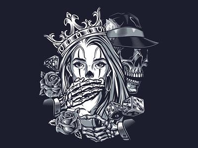 Chicana Girl vector designs graphic design skull art vintage monochrome vector illustration adobe illustrator gangster apparel design t-shirt design vector girl chicano chicana
