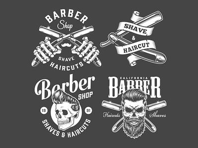 Vintage Barbershop Designs apparel design animated gifs monochrome graphic design graphic vector illustration vector adobe illustrator interior design exterior design barbershop logo vintage logo animated gif barbershop vintage