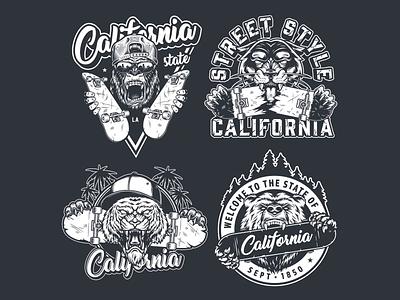 California Animals with Skates Designs monochrome gorilla bear skateboard t-shirt design apparel design vector illustration vector adobe illustrator vintage californiaclothing california animals skateboarding skate