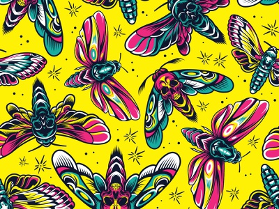 Tattoo seamless pattern branding apparel design t-shirt design adobe illustrator vintage vector illustration vector button design packaging tattoo design tattoo art butterfly yellow pattern art pattern tattoo