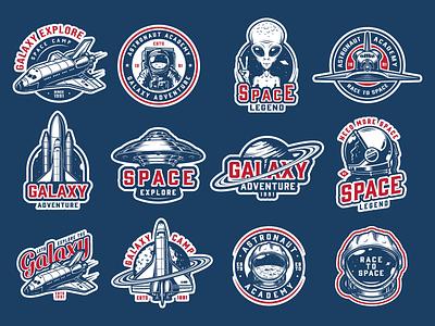 Space vector emblems t-shirt design apparel design spaceman spaceship ufo emblem animated gif vector illustration adobe illustrator vintage vector astronaut moon space
