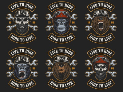 Motorcycles designs helmet gorilla skull bear wolf adobe illustrator t-shirt apparel design tshirtdesign color vintage vector illustration vector wrench biker motorbike motorcycle moto animals