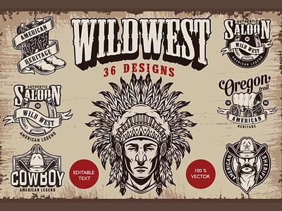 Wild West Designs monochrome chief cowboy graphic t-shirt design apparel design vector illustration vintage adobe illustrator vector usa american indian western wild west