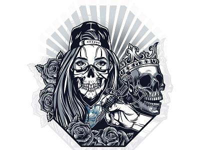 Chicana Girl with a Skull men roses tattoo art apparel design t-shirt design monochrome vector illustration adobe illustrator vintage cholo skull art skull girl chicana