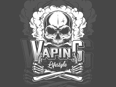 Vaping Lifestyle Skull designs logo design logo logos vape logo lifestyle branding graphic design apparel design vector illustration illustration vintage vector adobe illustrator vapor skullart skull vape vaping