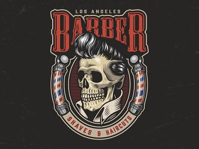 Barbershop Logo Design with a Skull graphic skull logo vector vintage vector illustration adobe illustrator skulls presley logo designs logo design barber barbershop skull