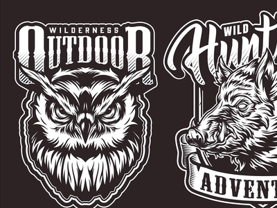 Hunting Vector Emblems gif gif animated animated gif animals hog eagle bear owl apparel design adobe illustrator vintage emblem vector illustration vector hunting vector hunting hunt