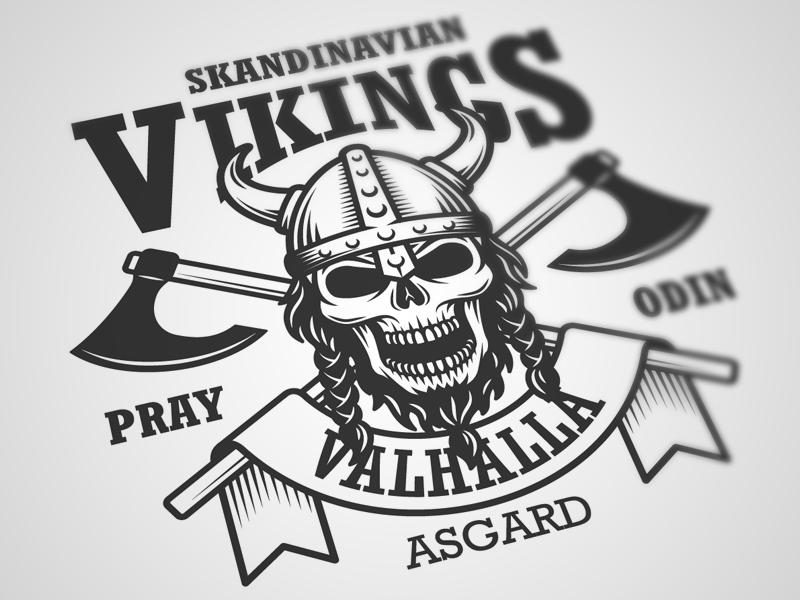 Skandinavian vikings emblem logo emblem logo design viking skandinavian authentic hipster skull axe vitage
