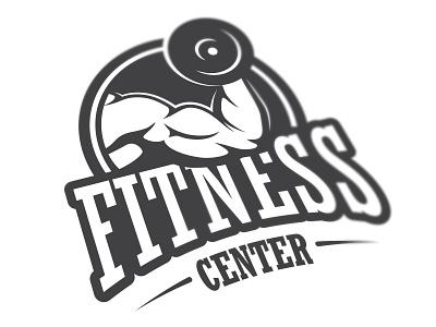 Fitness center logo fitness sticker gym sport muscle emblem label vintage health