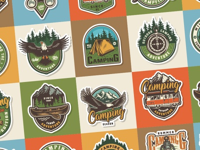 Camping emblems label badges logo illustration emblem vintage custom logo designer color camping vector art logo design emblems logotype