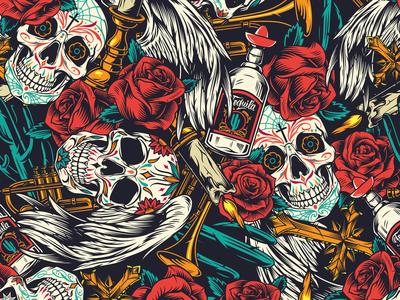 Pattern Dia de Los Muertos
