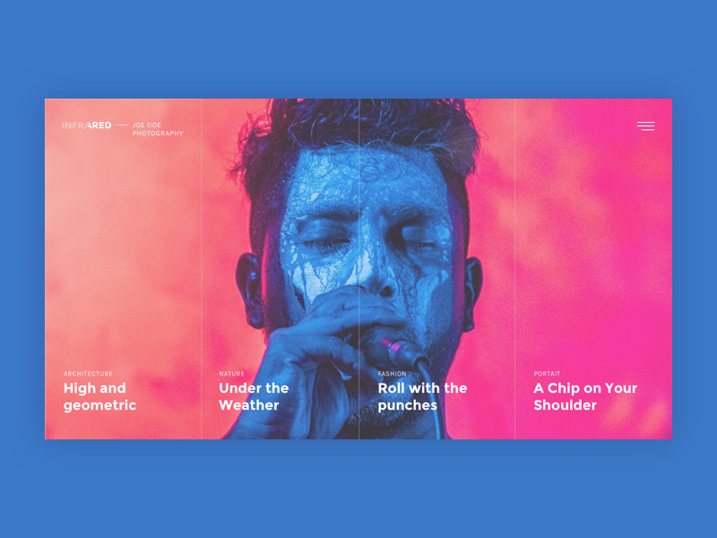 Infrared - Creative Photography Portfolio colors ui grid clean webdesign website themeforest photography template minimal intro homepage