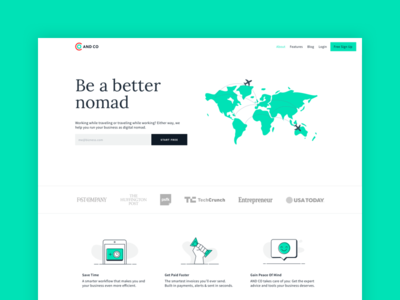 Digital Nomads - AND CO maps landing page multi currency expense contract invoice freelancer freelance digital nomads