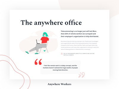 Anywhere Workers - The Anywhere Office illustration office website nomads light clean organic report study survey freelancing freelancer