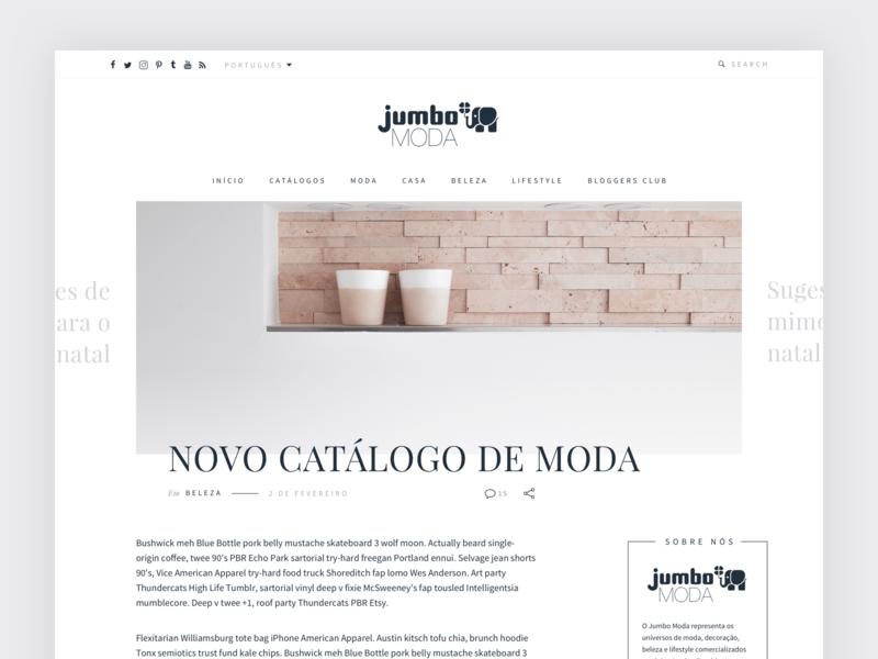 Jumbo Moda - Post page flat web desktop fashion blog design layout magazine font type typography serif post blog ux webdesign minimal clean ui website