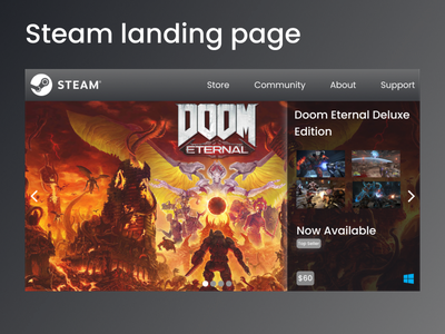 Steam's landing page games image slideshow steam gaming branding figma ui