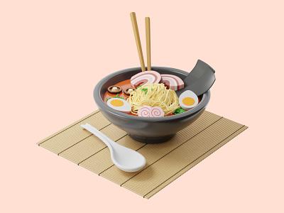 3D Asian cuisine mobile dishes web site delivery food restaurant business 3d modeling 3d rendering soup japanese asian cuisine ramen soup ramen 3d food asian 3d web app ui