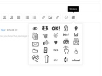 Admin editor wireframe - stickers