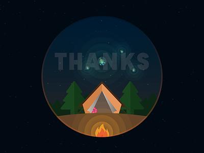 Thanks @DavidRappaport for the invitation you thank tent fire camping invitation invite davidrappaport rappaport david dribbble thanks