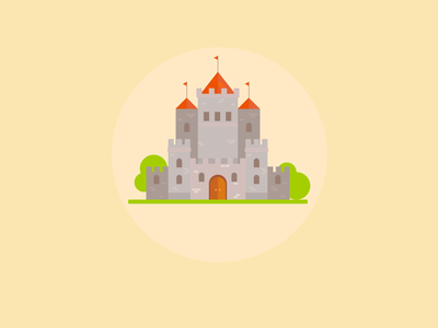 Castle Icon Tutorial towers tree bush grass knight medevil flat simple desgn icon affinity castle