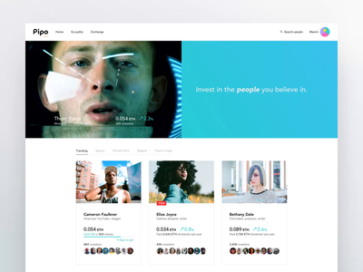 Pipo.io app interaction ui ux web design website search animation results product interactive layout after effects design creative webdesign product design minimal motion clean white