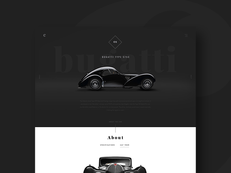 cars ui bugatti dark website classic-cars